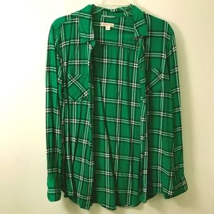 Merona green plaid button down, large, cute!